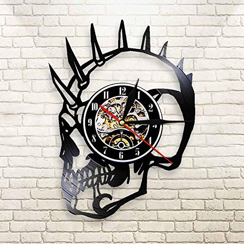 FDGFDG Dude Punk Skeleton Schwarz 3D Vinyl Schallplatte Wanduhr Horloge Uhr Mohican Biker Tattoos Schädel Quarz Uhr Halloween Horror Dekor