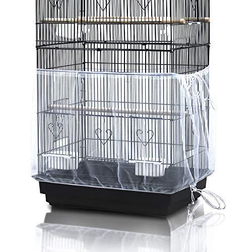 Asocea Universal-Vogelkäfig-Abdeckung, Nylon-Netzstoff, für Papageien, Weiß (ohne Vogelkäfig)
