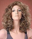 Forever Young UK - Peluca larga para mujer, color marrón ceniza con rizos rubios, rizados