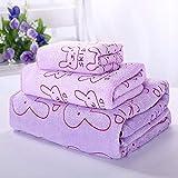 Juego de toallas de baño con cara de lavado de algodón para mujeres, juego de tres piezas, juego de combinación familiar, hombre, adulto, 140x70cm, 140x70cm, conjunto de cabeza de conejito púrpura