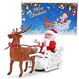 Alce eléctrico Que Tira del Juguete del Trineo de Papá Noel, Adorno de Renos de Navidad Decoración Estatuilla Regalo de año Nuevo