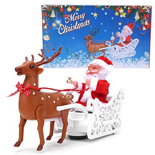 Alce eléctrico que tira del juguete del trineo de Papá Noel, adorno...