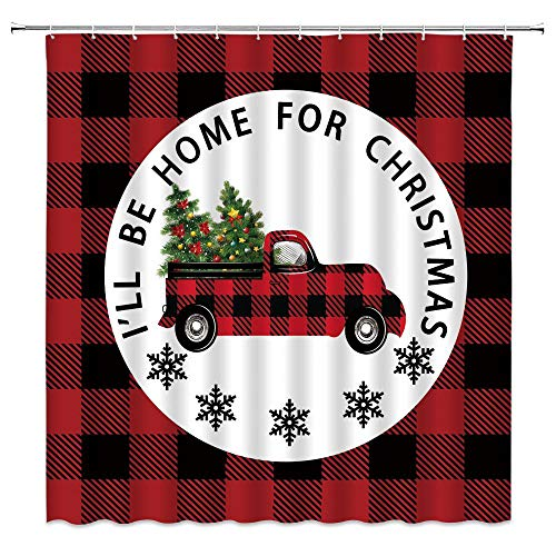 Christmas Truck Plaid Shower Curtain Creative Red Black Check Buffalo Plaid Retro Xmas Car Merry Christmas Tree Snowflake Home for Christmas Fabric Bathroom Curtain Set 70x70 Inch with Hook