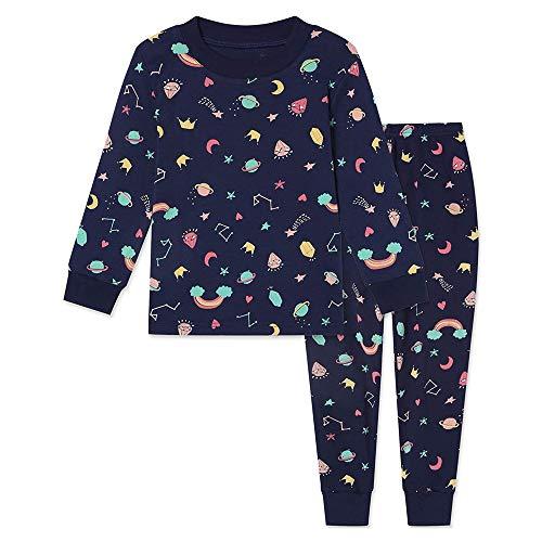子供パジャマ 上下セット 綿100% 女の子 部屋着 寝間着 9分袖 9分丈 長袖 キッズパジャマ 快適 トップス パンツ ルームウェア ねまき 肌触りがいい カジュアル 8色 90-140 (ネイビー(虹), 120)