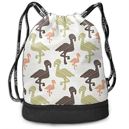 Bolsas de Cuerdas,Bolsas de Gimnasia,Mochilas Tipo Casual, Green Brown and Pink Nature Flamingo Silhouette Customized Multifunctional Beam Drawstring Backpack Unisex Suitable for Outdoor Travel