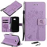 Sangrl Wallet Hülle Für LG K5 (2016), Mode PU-Leder Magnetisch Schliessen Schmetterling Handyhülle Mit Halterung Katze & Baum Geprägtes Design Hülle - Light Purple