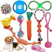 Super valeur 10 paquet: Comprend 10 des plus populaires petites et moyennes entreprises jouet corde chien canard, pantoufle, balles, frisbees, nœuds, anneaux à tirer, etc. pour satisfaire au mieux la curiosité du chien. Tous différents jouets à mâche...