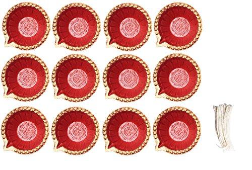 12-teiliges Diwali-Geschenk-Set, natürliche Öllämpchen, Dekorationen, traditionelle Diyas, mit Baumwolldocht Deepawali natürliche...