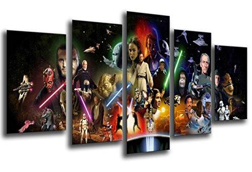 Stampe artistiche multiple su legno, con cornice, da appendere alla parete (dimensioni totali: 165 x 62 cm, Star Wars, Darth Vader, incorniciate e pronto da appendere – Rif. 26021