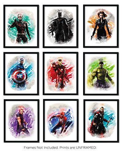 Avengers Superhero Watercolor Art Prints (Unframed) | Great Gift Set of 9 (8x10) | Set 1