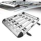 SUNWEII Portaequipajes de Aleación Cofre Techo Coche Aluminio Negro Portaequipajes para Coches Universales Barras Techo Coche Cofre Techo Coche Carga hasta 200kg,Silver-127X90cm