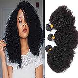 Allnice - Extensiones de cabello humano rizado de grado 8A, 100% sin procesar, color negro natural (12 14 16 pulgadas)