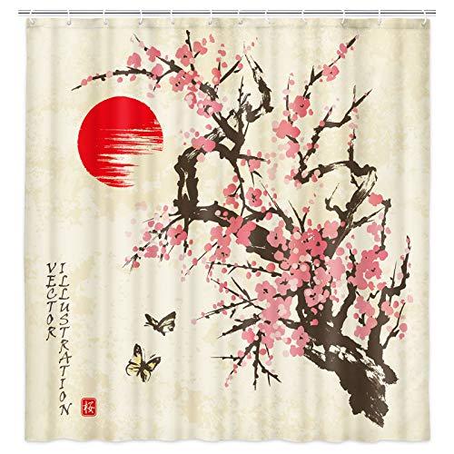 Cherry Tree Art Dekorativer Duschvorhang, japanische KirschSakura in Blüte & rote Sonne, Symbol der japanischen Dusche, Badezimmerdekoration, wasserdichter Stoff, Badvorhang mit 12 Haken