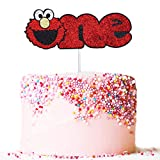 Artczlay elmo happy birthday cake topper sesame street party cake decoration wild baby first birthday party (one)