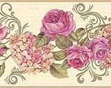 Dundee Deco DDAZBD9065 - Carta da parati adesiva con motivo floreale, rosa crema, ortensia, bordo da parete, motivo retrò, 4,57 m x 17,78 cm