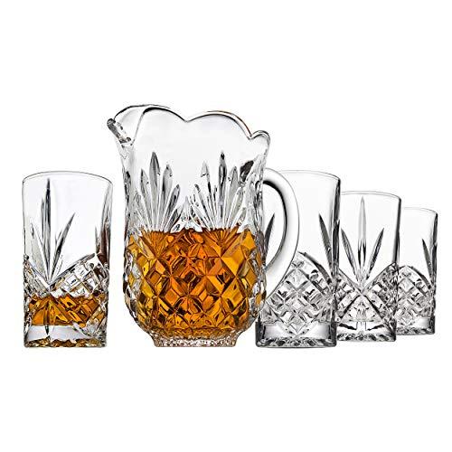 Elegantes Kristallkrug mit 4 Kristallgläsern, schöner Krug mit Griff und Ausgießer für gekühlte Getränke, hausgemachten Saft, Eistee oder Wasser