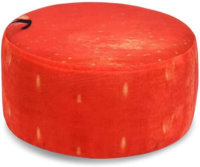 Carl Artbay Wooden Footstool Round Red Fruit Pattern Creative Home Cartoon Stool Without Legs Home