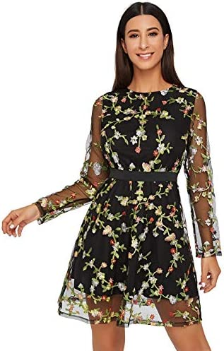 Milumia Women s Round Neck Long Sleeve Floral Embroidered Short Dress Black X Large product image