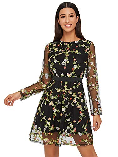Milumia Women's Round Neck Long Sleeve Floral Embroidered Short Dress Black X-Large