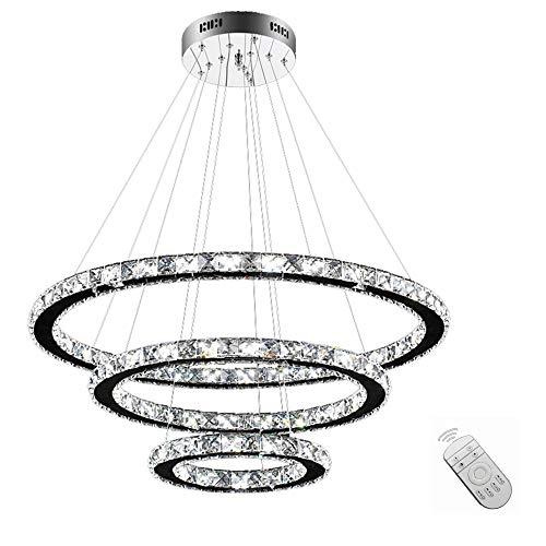 SAILUN 96W LED Kristall Design Hängelampe Drei Ringe Deckenlampe Pendelleuchte Kreative Kronleuchter Dimmbar Lüster