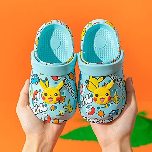 chanclas mujer baratas,Pikachu Children's Baotou Slippers, Dibujos animados de verano Impresión de dibujos animados Niños y niñas Sin resbalones Suave Absoltable Desodorante Beach Zapatos Sandalias-1