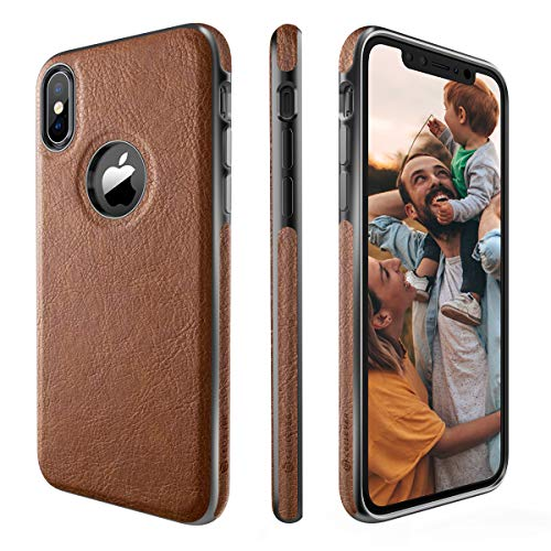 CellEver Compatible with iPhone Xs Case, iPhone X Case Premium Leather Guard Thin Slim Soft Flexible Scratch-Resistant Anti-Slip Luxury Vegan Leather Cover - Brown