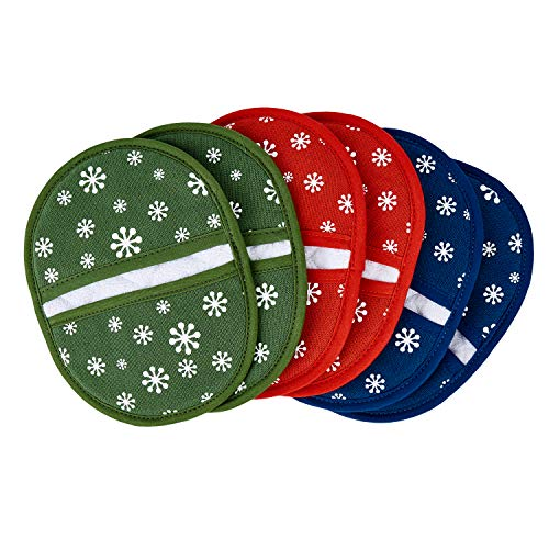 Heat Resistant Silicone Kitchen Pot Holders & Oven Mitts ,100% Cotton Pocket Oven Mitts ,Microwave...