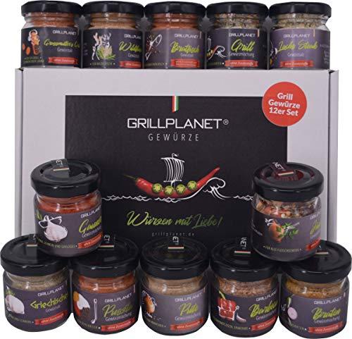 Grill Gewürze Geschenkset Geschenk Box Grillen und Pfanne 12 er Set von Grillplanet für Männer und Frauen