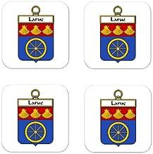 Larue De La Rue Family Crest Square Coasters Coat of Arms Coasters - Set of 4