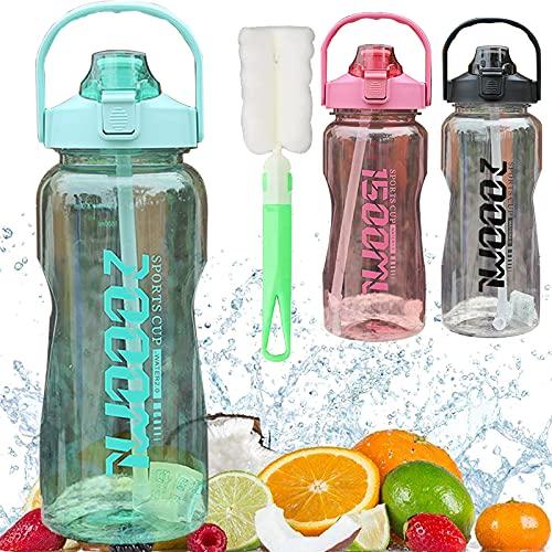 Botella de agua de 2 L con pajita y cepillo para botellas, sin BPA, botella deportiva a prueba de fugas, botella de bicicleta para gimnasio, camping, fitness, exterior, ciclismo, escuela, verde 2 L