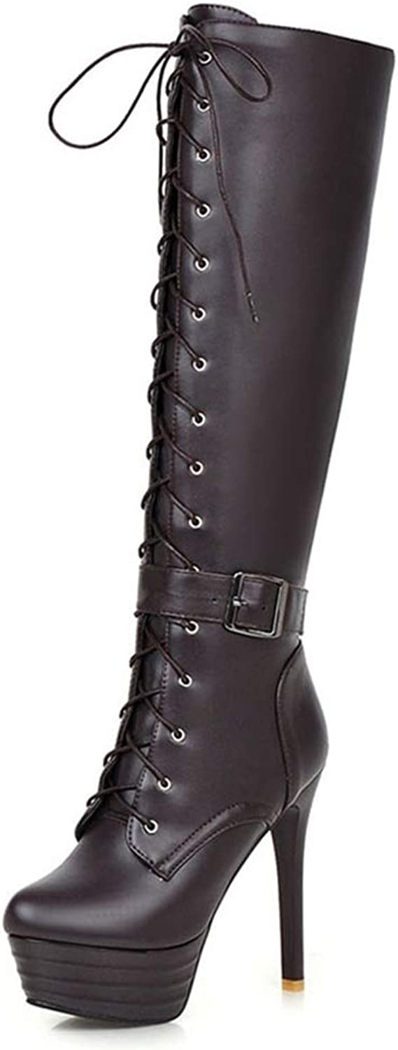 Hoxekle Women Knee High Boots Lace Up Buckle Zipper Thick Platform Super High Thin Heel Ladies Sexy Party Fashion Boots