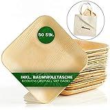 Dananda® Einweggeschirr aus Palmblatt, plastikfrei verpackte Einwegteller (50 STK.) inkl. praktischer Baumwolltasche, kompostierbar, nachhaltig