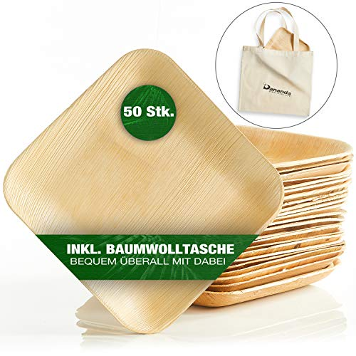 Dananda® Einweggeschirr aus Palmblatt, plastikfrei verpackte Einwegteller, inkl. praktischer Baumwolltasche, kompostierbar, nachhaltig [50 STK.]