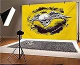 Tatuaje de vinilo de 20 x 10 pies, diseño de calavera coronada con alas de plumas anchas y magníficas para bebé, cumpleaños, boda, estudio, fotografía.
