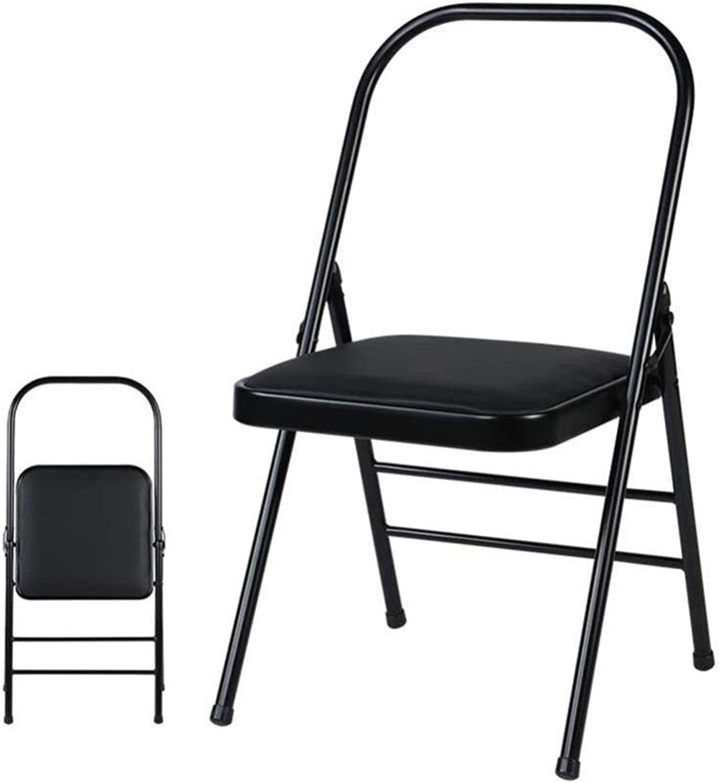 FENGFAN Chairs Folding Yoga Backless Standard Prop Practice Asana Activity Padded Foldable (color   Black)