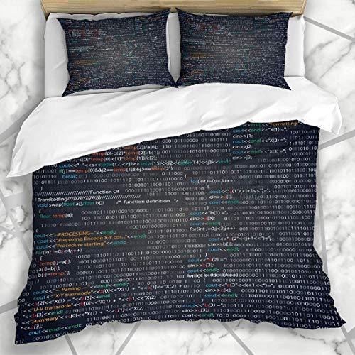 LIS HOME Bettbezug-Sets Screenshot Zufällige Teile Xml Prozedur Monitor Programmcode Programmierung Industrielle Java-Texturen PC Weiche Mikrofaser Dekoratives Schlafzimmer mit 2 Kissenbezügen