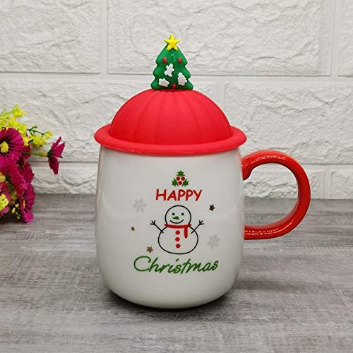 BECCYYLY Taza de café de cerámica con patrón navideño con Tapa de...