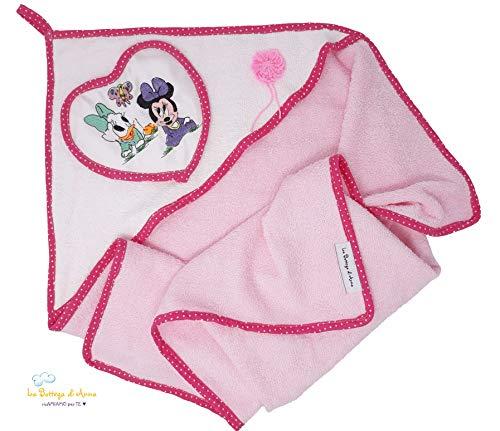 Peignoir bébé en éponge de coton, avec broderie baby Minnie et Daisy