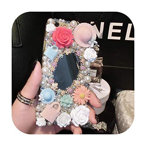 Diamanten strass spiegel hoesje voor iPhone 11 Pro Max X XR XS lippenstift cover voor iPhone 6 6S 7 8 Plus hoesje, 7Plus 8Plus, Beige