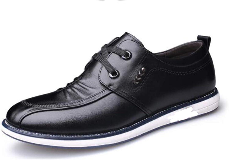 LCM Male shoes men's shoes single shoes round head shoes Four Seasons wear-resistant, breathable rubber soles black,Black,8UK