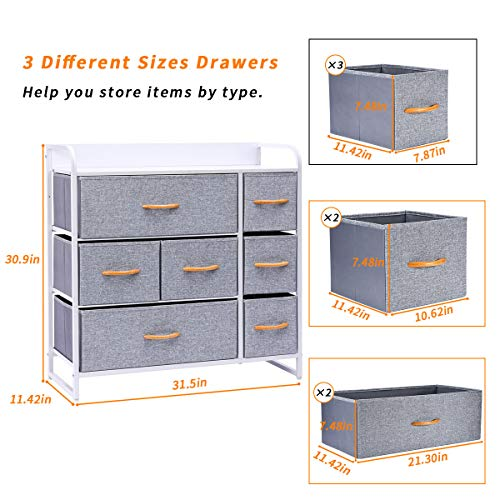 Kamiler 7-Drawer Dresser, 3-Tier Storage Organizer, Tower Unit for Bedroom, Hallway, Entryway, Closets - Sturdy Steel Frame, Wooden Top, Removable Fabric Bins