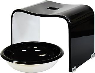 アクリル バスチェア 洗面器セット ツートン ブラック×ホワイト