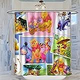 Trelemek Cortina de ducha de 183 x 183 cm con Winnie The Pooh Tiger Eeyore Piglet RooPattern, impermeable, con 12 ganchos de plástico, lavable