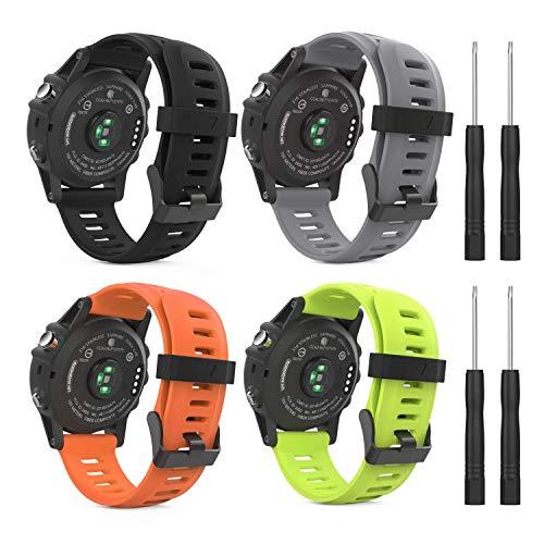 MoKo Pulsera Compatible con Fenix 3/3 HR/5X/5X Plus/D2 Delta PX/Tactix Bravo/Descent Mk1/Quatix 3, [4-Pzs] Correa de Silicona Respirable y Reemplazable, Banda de Reloj Deportivo - Multicolor 2