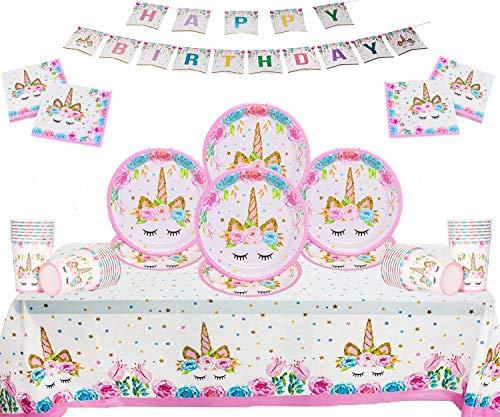 Einhorn Party Supplies Kinder Geburtstag Einweg Party 50 Stück Set Teller Tassen Servietten Tischdecke Papier Banner-Serve 16 Gäste