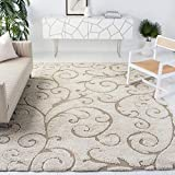 SAFAVIEH Florida Shag Collection SG455 Scrolling Vine Graceful Swirl Textured Non-Shedding Living Room Bedroom Dining Room Entryway Plush 1.2-inch Thick Area Rug, 8'6' x 12', Cream / Beige