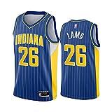 HS-XP Jersey De Baloncesto De Los Hombres - NBA Indiana Pacers # 26 Jeremy Lamb, Camiseta De Baloncesto De Malla Transpirable Sin Mangas, Jersey De Cuello En V,Azul,L(175~180cm)
