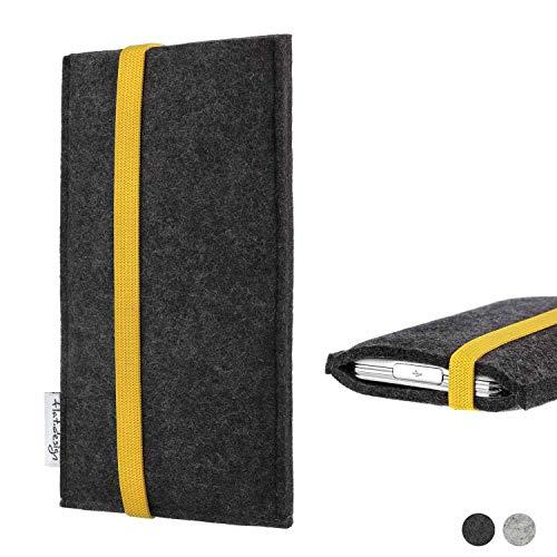flat.design Handy Hülle Coimbra für Shift Shift6m passgenau Handytasche Filz Tasche fair schwarz gelb