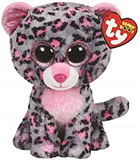 Ty Beanie Boo 6' Tasha The Grey and Pink Leopard