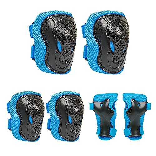 BIFY Knieschoner Kinder Schützer Ellenbogenschoner Handgelenkschoner Schutzausrüstung Set,Inliner für Kinder Protektoren Set für Skateboard Roller Skaten Radfahren(Blau)